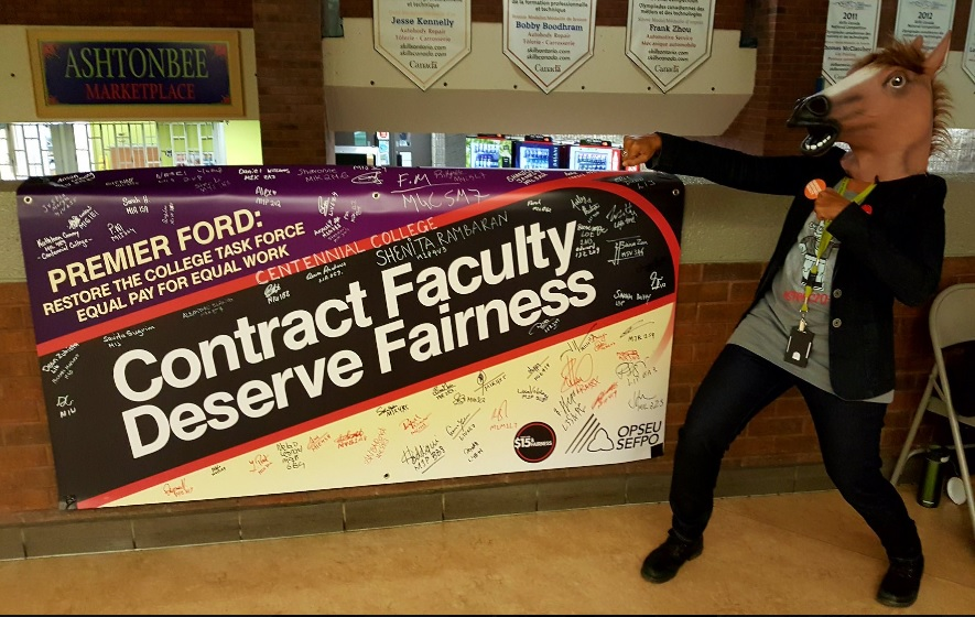 """Banner with, """"Contract faculty deserve fairness"""""""